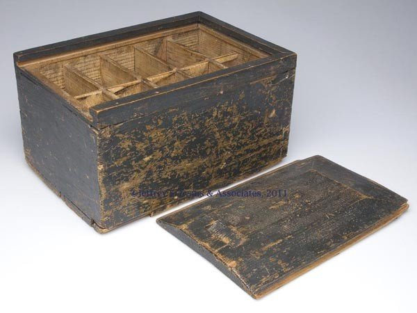 296: COUNTRY PAINTED PINE SLIDE-TOP BOX - 2