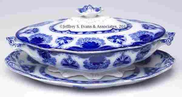 870: STAFFORDSHIRE FLOW BLUE TRANSFERWARE TABLE ARTICLE