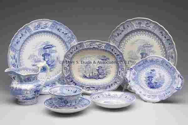 STAFFORDSHIRE TRANSFERWARE ARTICLES, LOT OF EIGHT