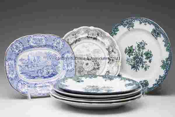 885: STAFFORDSHIRE TRANSFERWARE ARTICLES, LOT OF EIGHT