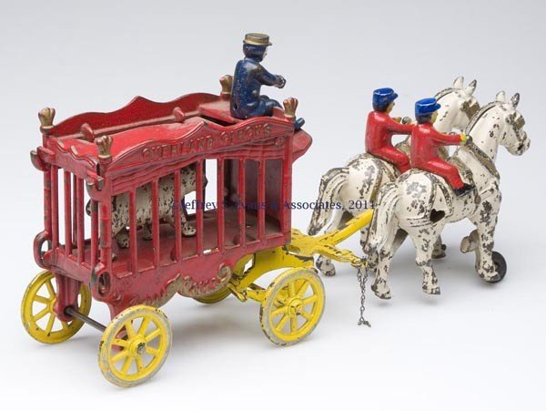 "60: KENTON ""OVERLAND CIRCUS"" CAST-IRON TOY BEAR WAGON - 2"
