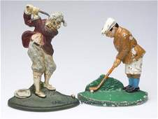 197 GOLFER CASTIRON DOORSTOPS LOT OF TWO