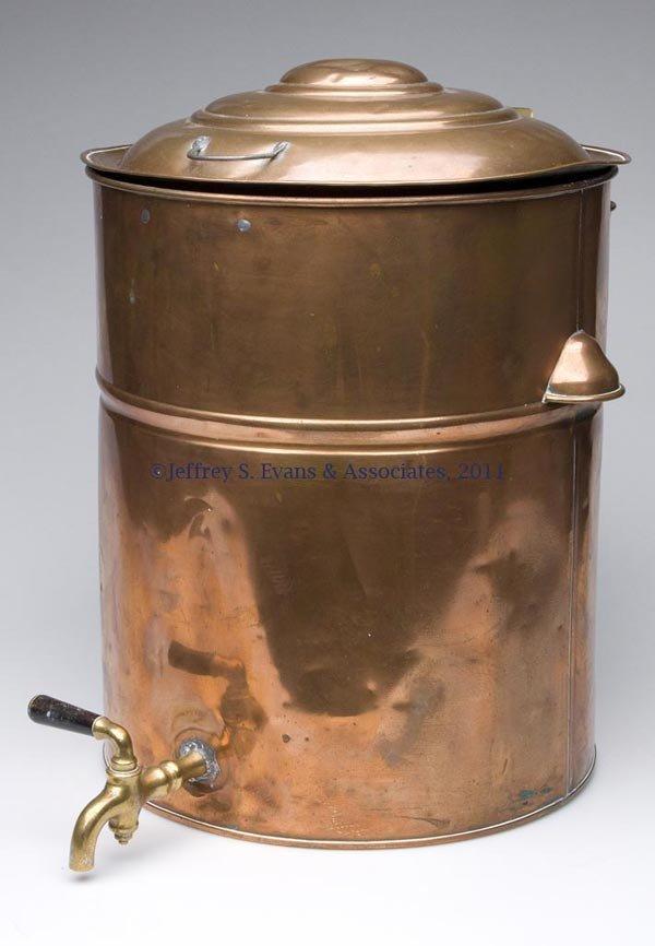 335: BARBER SHOP COPPER TOWEL WARMER OR STERILIZER