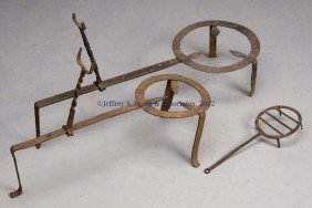 1: THREE WROUGHT-IRON HEARTH TRIVETS