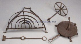 7: THREE WROUGHT-IRON HEARTH ARTICLES