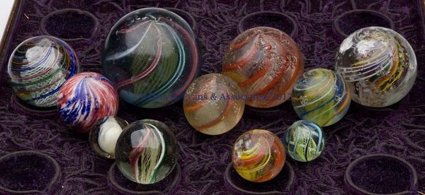 106: ASSORTED GLASS SHOOTER MARBLES, LOT OF 11