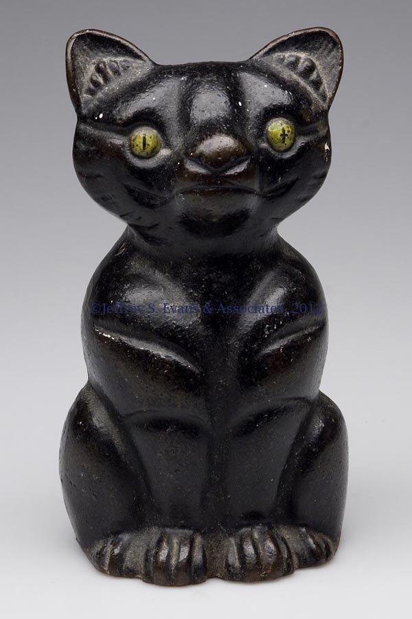107: SEATED BLACK CAT CAST-IRON DOORSTOP