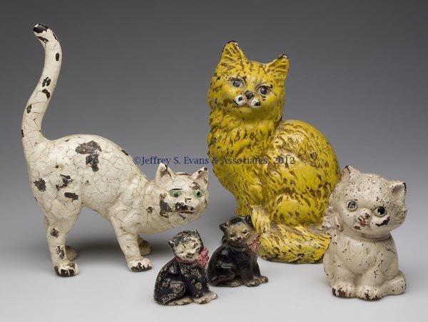 109: ASSORTED CAT CAST-IRON FIGURES, LOT OF FIVE