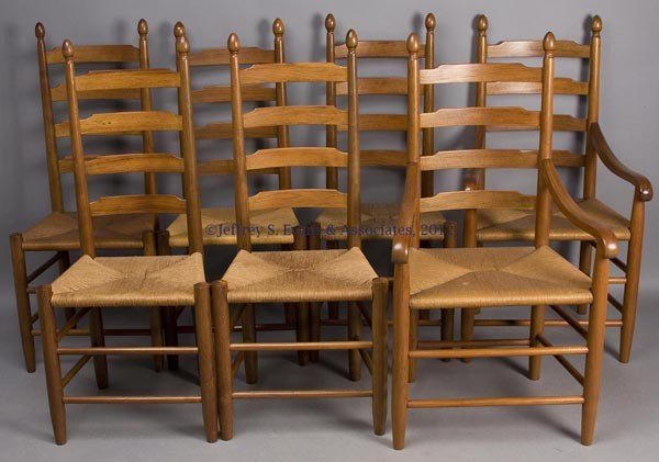 307: E. A. CLORE WALNUT LADDER-BACK DINING CHAIRS, SET