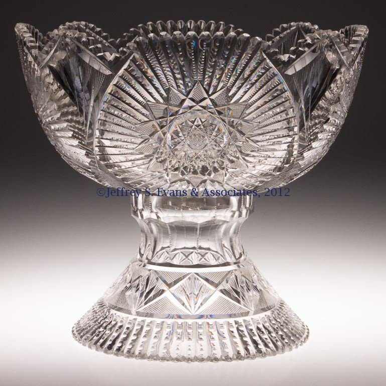 1: AMERICAN BRILLIANT CUT GLASS PUNCH BOWL ON STAND