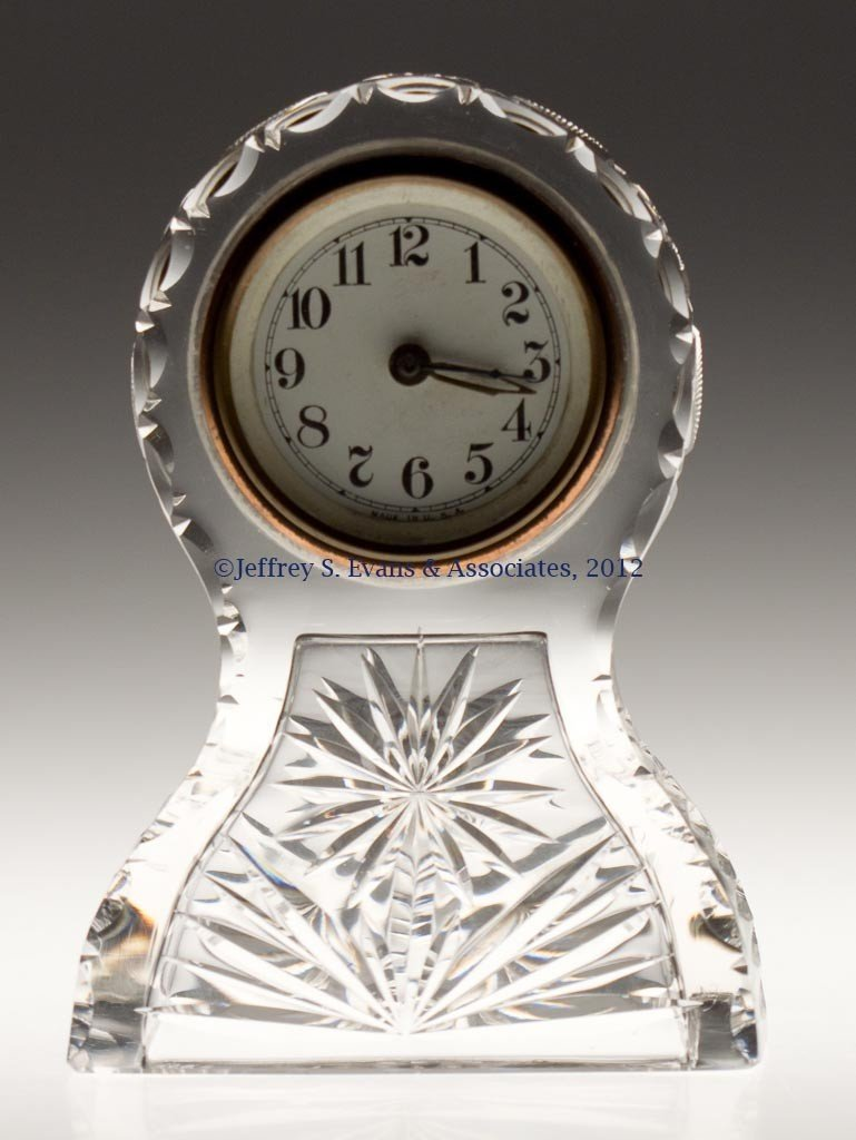 "2: FRY ""WARREN"" CUT GLASS CLOCK"