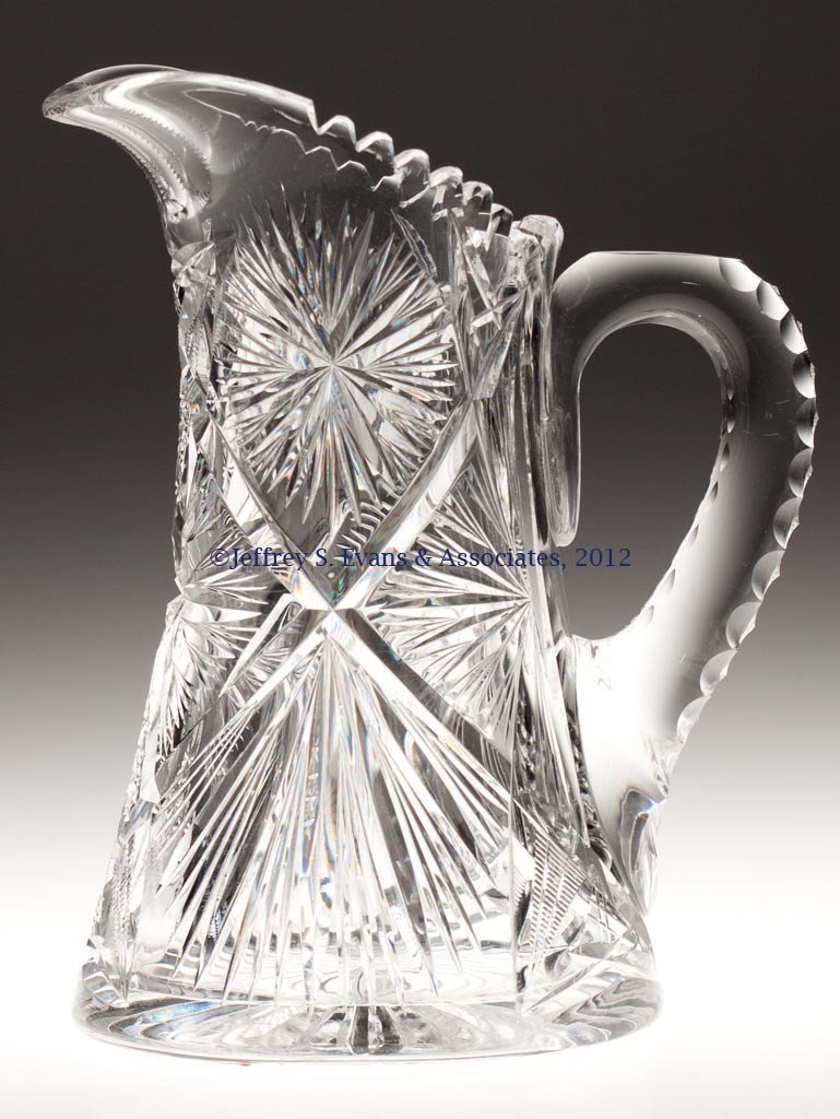 "7: FRY ""SUNBEAM"" CUT GLASS TANKARD PITCHER"