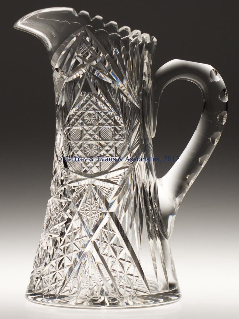 "8: FRY ""WREATH"" CUT GLASS TANKARD PITCHER"