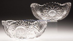 FRY CUT GLASS BOWLS, LOT OF TWO