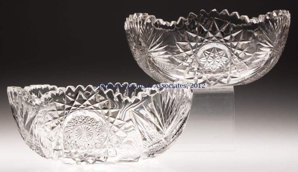 29: FRY CUT GLASS BOWLS, LOT OF TWO