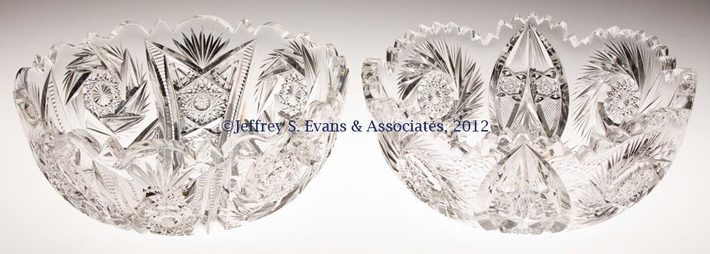 30: FRY CUT GLASS BOWLS, LOT OF TWO