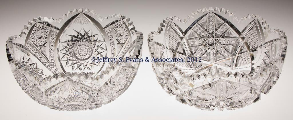 31: FRY CUT GLASS BOWLS, LOT OF TWO