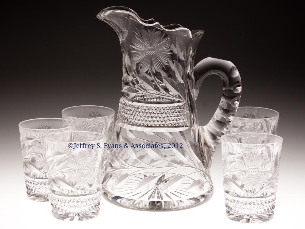 "48: FRY ""FLORAL"" CUT GLASS SIX-PIECE WATER SET"