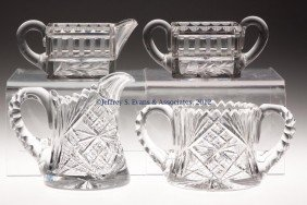 FRY CUT GLASS CREAM AND SUGARS, TWO SETS