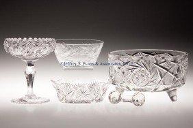 AMERICAN BRILLIANT CUT GLASS ARTICLES, LOT OF FIVE