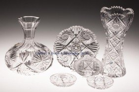 FRY CUT GLASS ARTICLES, LOT OF SIX