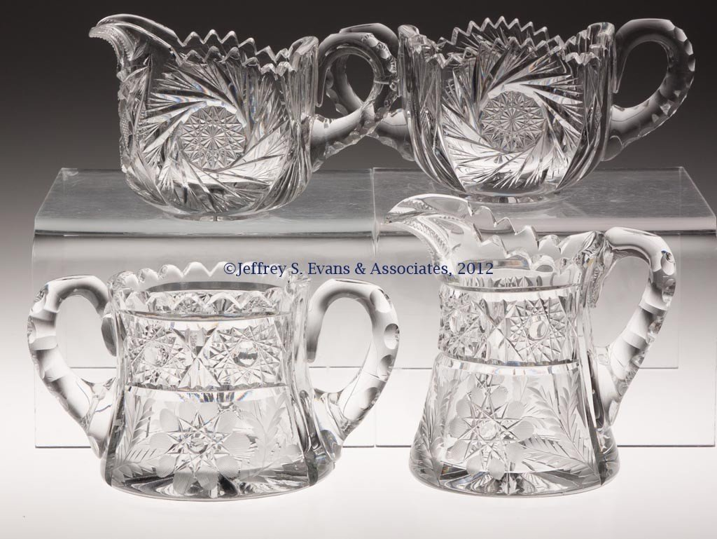 75: FRY CUT GLASS CREAM AND SUGAR, TWO SETS