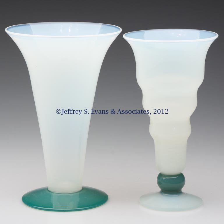 100: FRY ART GLASS VASES, LOT OF TWO