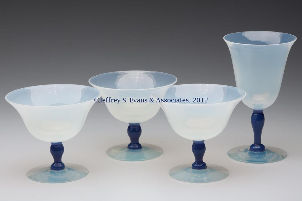 102: FRY ART GLASS STEMS, LOT OF FOUR