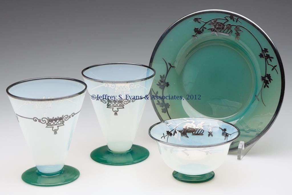 103: FRY SILVER OVERLAY ART GLASS ARTICLES, LOT OF FOUR