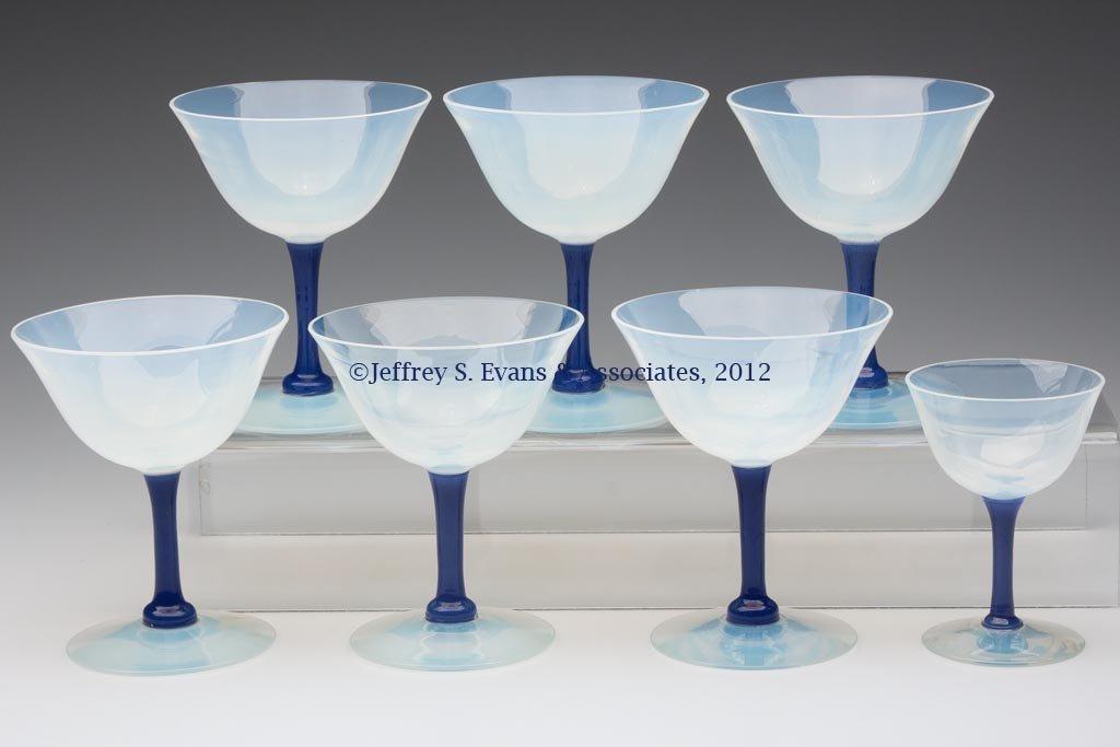 108: FRY ART GLASS STEMS, LOT OF SEVEN