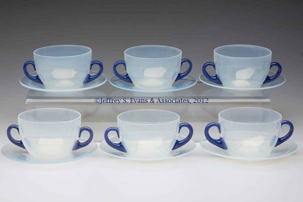 111: FRY ART GLASS BOUILLON CUPS AND UNDERPLATES, SIX S