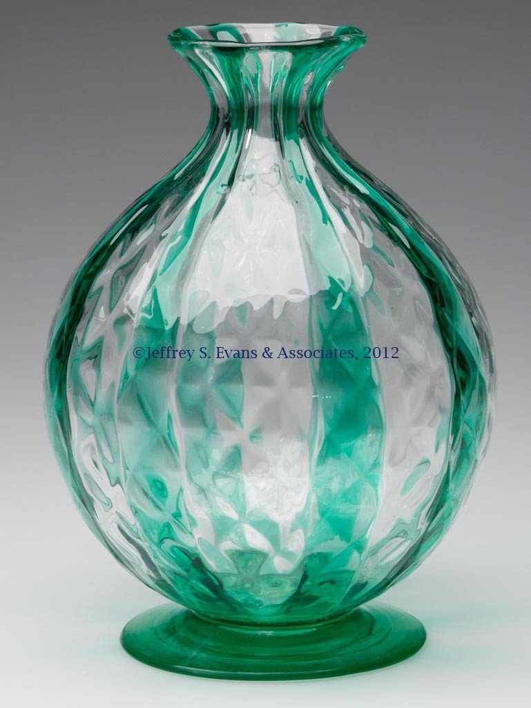 120: FRY COLORED GLASS WATER BASE LAMP / VASE