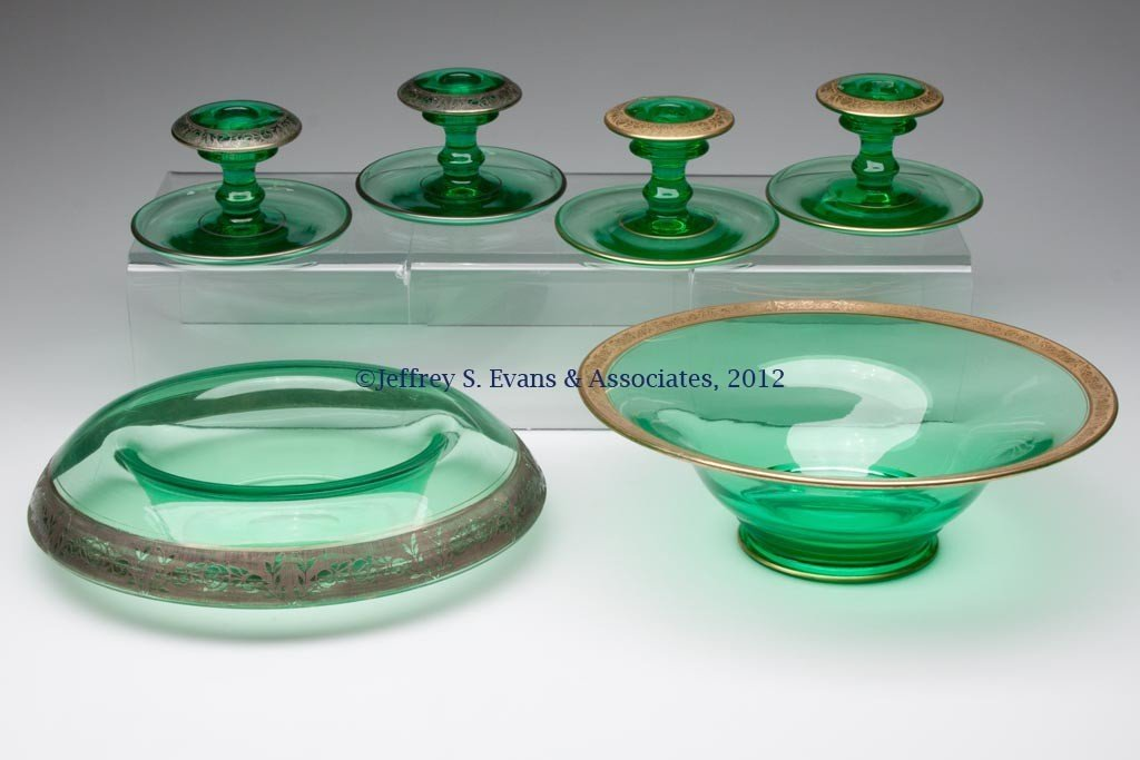 151: FRY GLASS THREE-PIECE CONSOLE SETS, LOT OF TWO