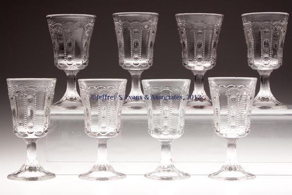 572: KANSAS / JEWEL AND DEWDROP WINE GLASSES, SET OF EI