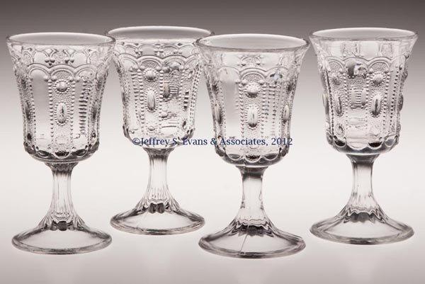 573: KANSAS / JEWEL AND DEWDROP WINE GLASSES, SET OF FO