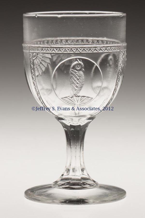 581: OWL IN FAN / PARROT WINE GLASS