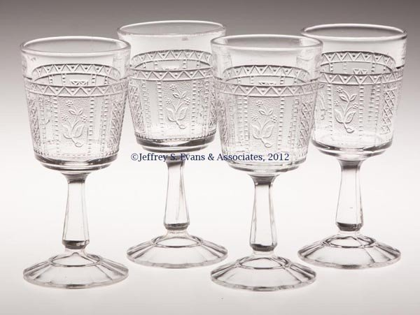 582: PANELED FORGET-ME-NOT WINE GLASSES, SET OF FOUR