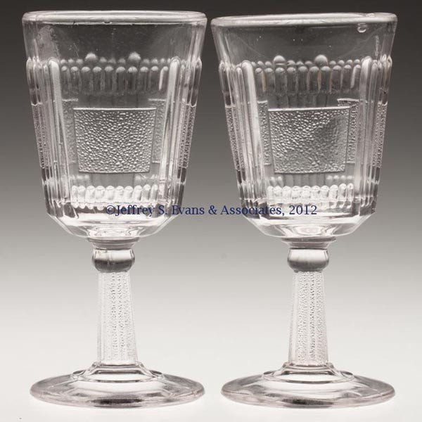 583: PLEAT AND PANEL PAIR OF WINE GLASSES