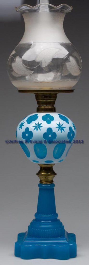 17: CUT OVERLAY STAR AND QUATREFOIL STAND LAMP