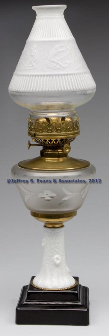 56: ENGRAVED AND FROSTED FIGURAL STAND LAMP