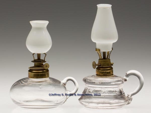 138: VARIOUS PATTERN MINIATURE FINGER LAMPS, LOT OF TWO