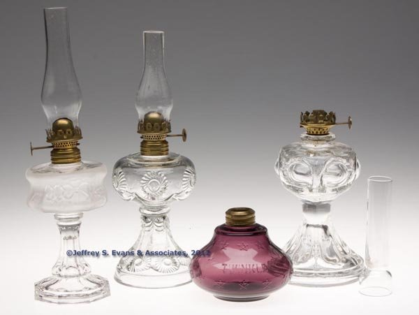 141: VARIOUS PATTERN MINIATURE LAMPS, LOT OF FOUR