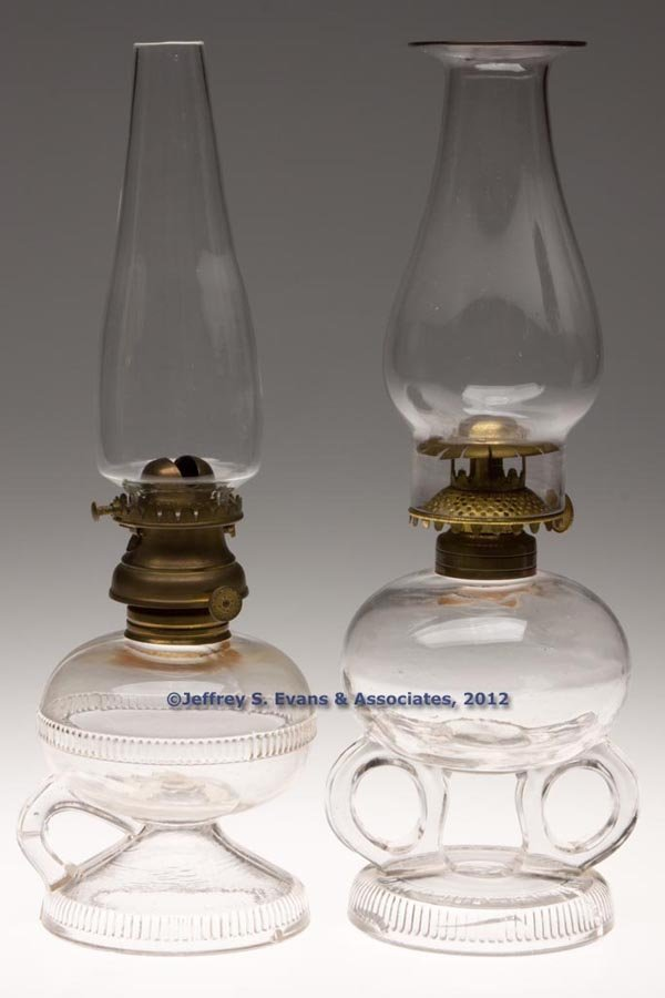 142: RIPLEY PATENTED FOOTED FINGER LAMPS, LOT OF TWO