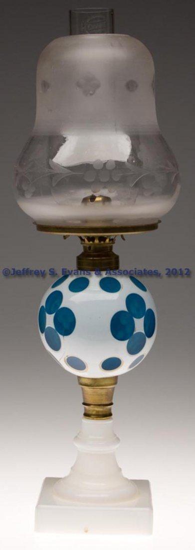 153: CUT OVERLAY QUATREFOIL STAND LAMP