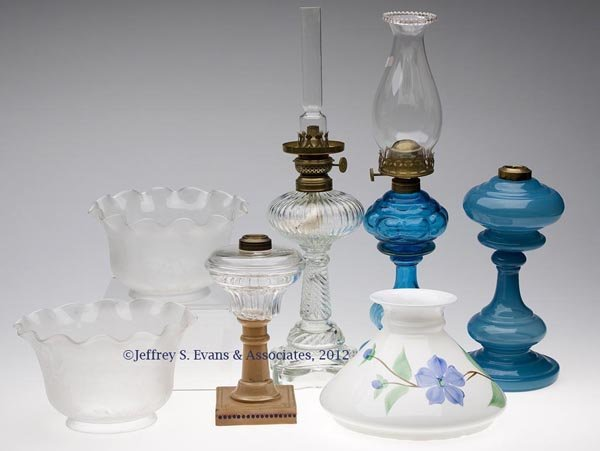 161: VARIOUS STAND LAMPS AND SHADES, LOT OF SEVEN