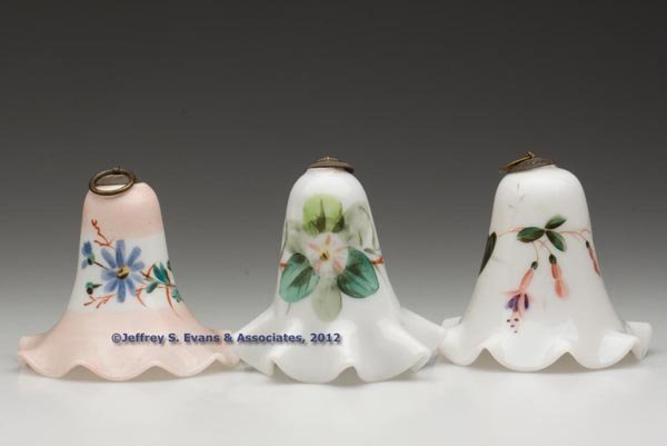 191: FREE-BLOWN AND DECORATED SMOKE BELLS, LOT OF THREE