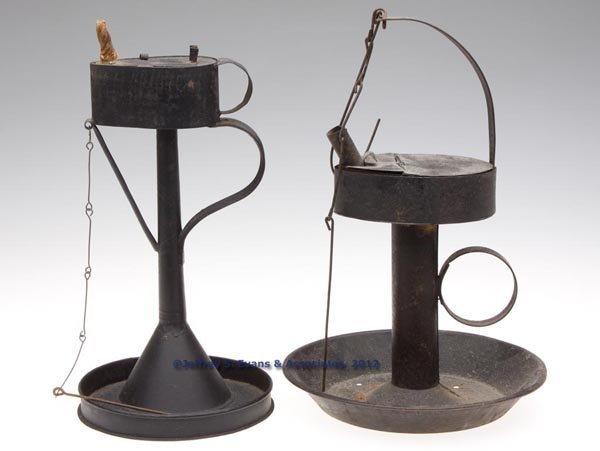294: SHEET IRON BETTY LAMPS, LOT OF TWO