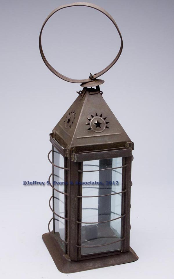 501: E. F. PARKER PIERCED SHEET IRON CANDLE LANTERN
