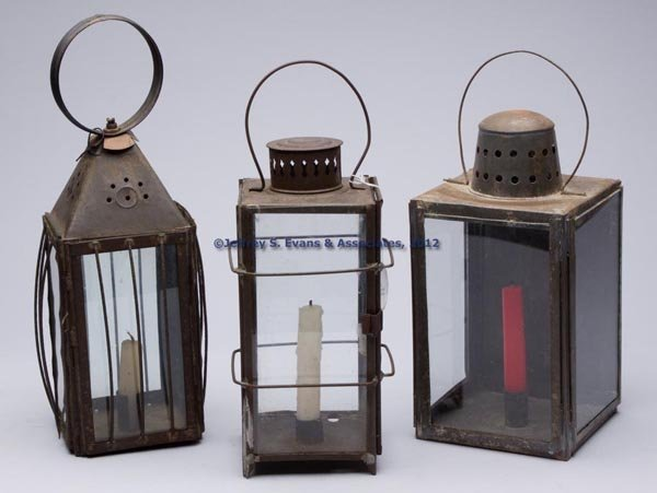 508: SHEET IRON CANDLE LANTERNS, LOT OF THREE