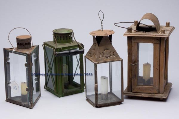 512: SHEET IRON AND WOOD CANDLE LANTERNS, LOT OF FOUR